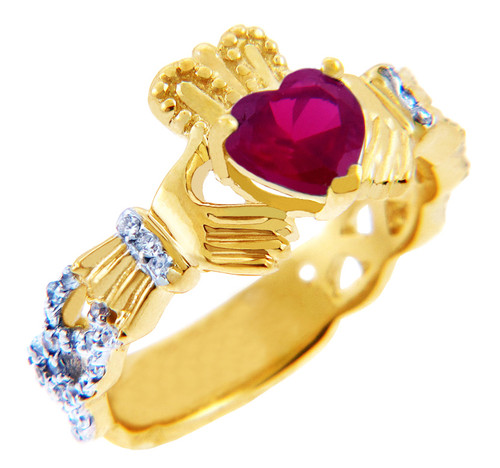 18K Gold 0.4 Ct. Diamond Band Claddagh Ring With 1.10 Ct. Ruby Center Stone