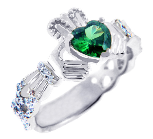 18K White Gold 0.4 Ct Diamond Band Claddagh Ring With and 1.10 Ct Emerald