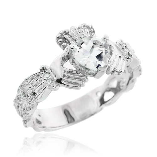 18K White Gold 0.40 Ct  Diamond Band Claddagh Ring with 1.02 Ct. SI Clear Diamond