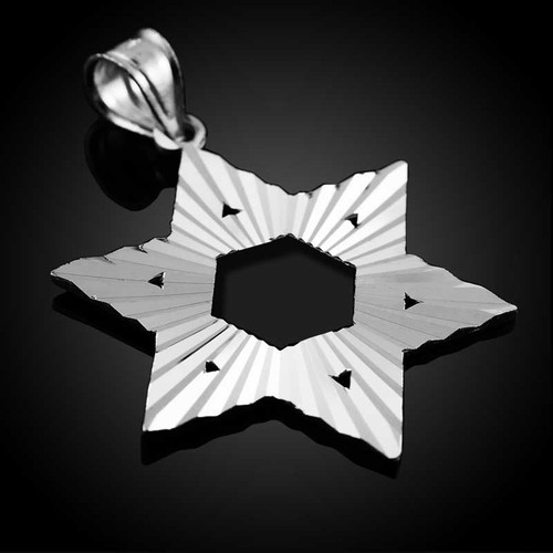 "White Gold Jewish Star of David Pendant (M) 1.25"""
