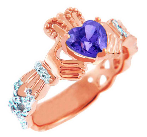RoseGold Claddagh Ring with 0.40 Carats of Diamonds and a Alexandrite Birthstone.  Available in 14k and 10k Rose Gold,