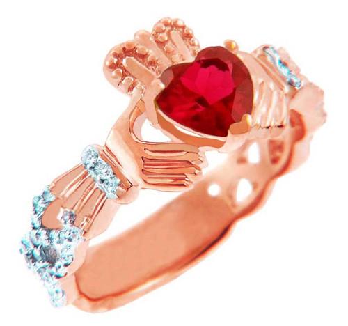 Rose Gold Diamond Claddagh Ring with 0.4 Ct Garnet