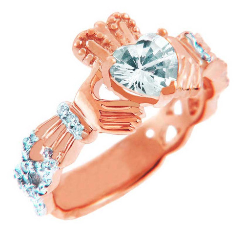 Rose Gold Diamond Claddagh Ring With 0.4 Ct  White Topaz