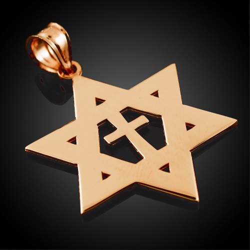 Rose Gold High Polished Star of David with Cross Pendant