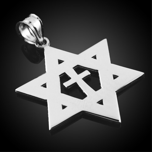 925 Sterling Silver  High Polished Star of David with Cross Pendant
