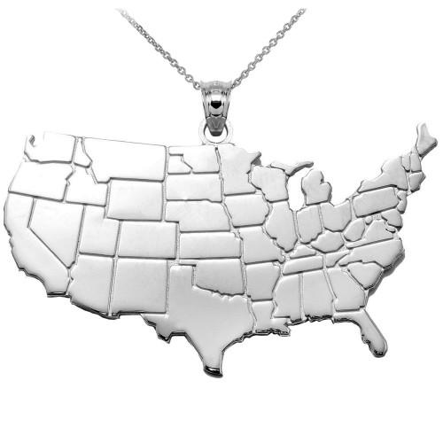 United States Map White Gold Pendant Necklace