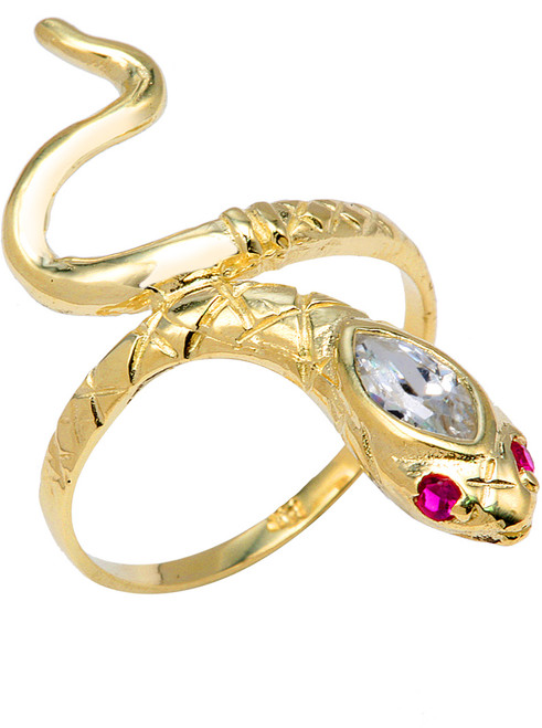 Yellow Gold Stone Head Snake Ring