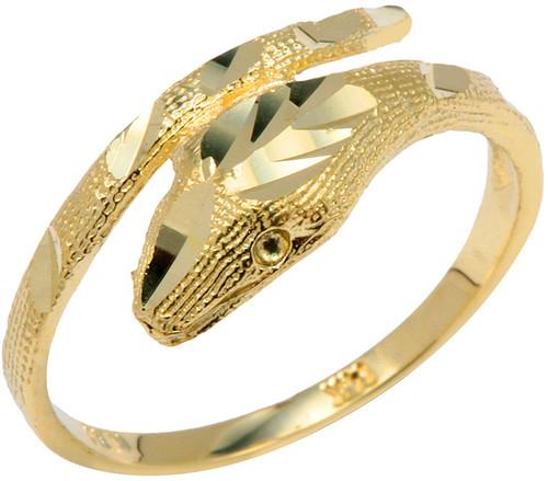 Yellow Gold Diamond Cut Cobra Ring