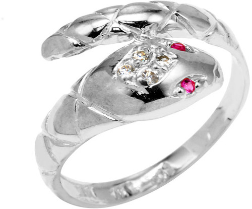 White Gold CZ Serpent Ring