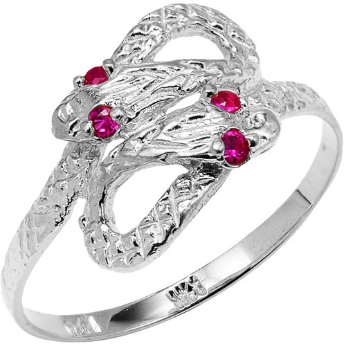 925 Sterling Silver CZ Two Headed Snake Ring