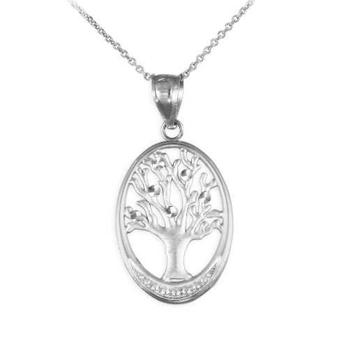 Silver Tree Of Life Oval Charm Pendant Necklace