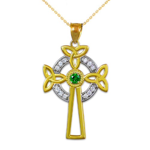 Two-Tone Gold Celtic Cross Trinity Knot Diamond Pendant Necklace with Emerald