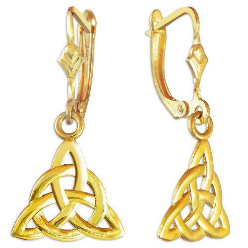 Gold Irish Celtic Trinity Earrings