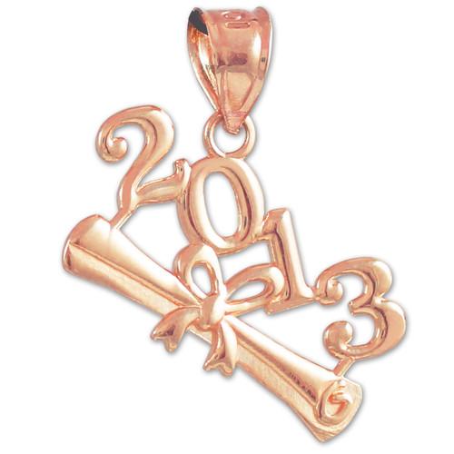 2013 Class Graduation Rose Gold Charm Pendant
