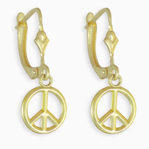 Small Peace Symbol Gold Earrings