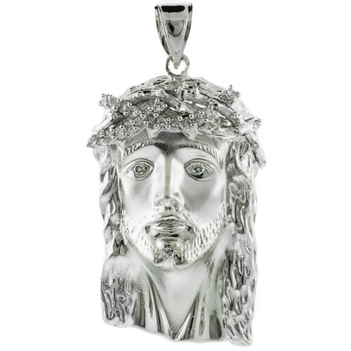 925 Sterling Silver Face of Jesus Pendant With CZ (Large)
