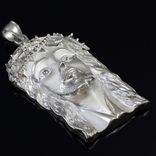 925 Sterling Silver Iced-out Jesus Face CZ Pendant (L)