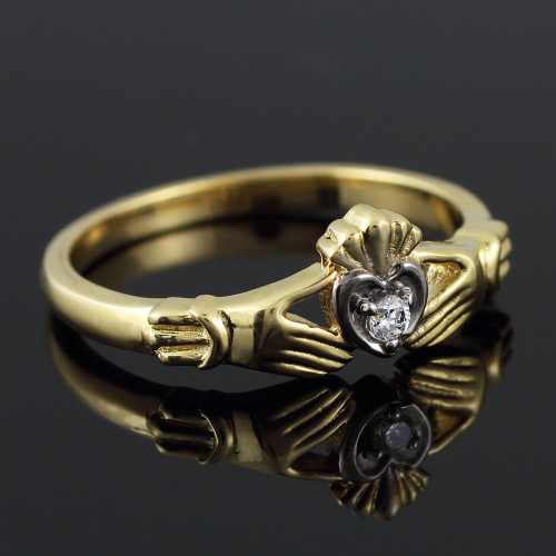 Yellow Gold Diamond Claddagh Promise Ring