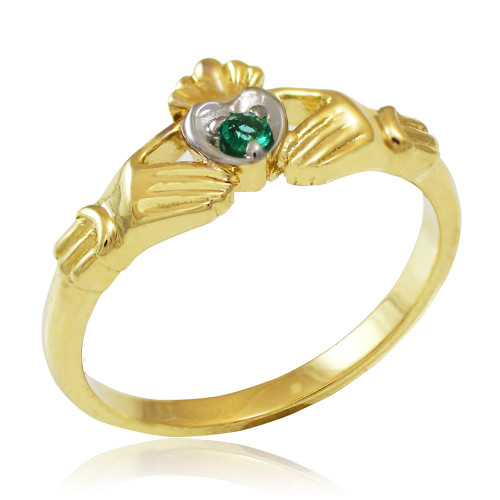 Gold Claddagh Promise Ring with Emerald