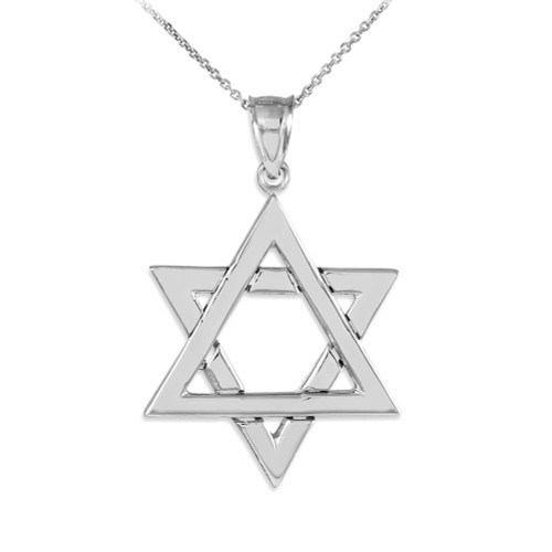 925 Sterling Silver Polished Star of David Pendant Necklace