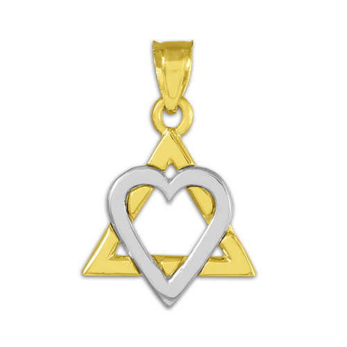 """Two-tone Gold Star of David Heart Charm Pendant (0.9"""")"""