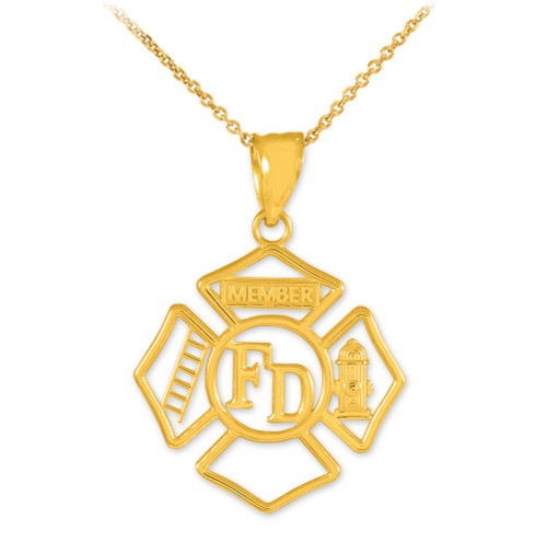 Gold Fireman Open Badge Pendant Necklace