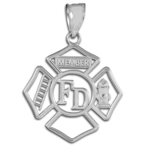 Sterling Silver Fireman Open Badge Pendant