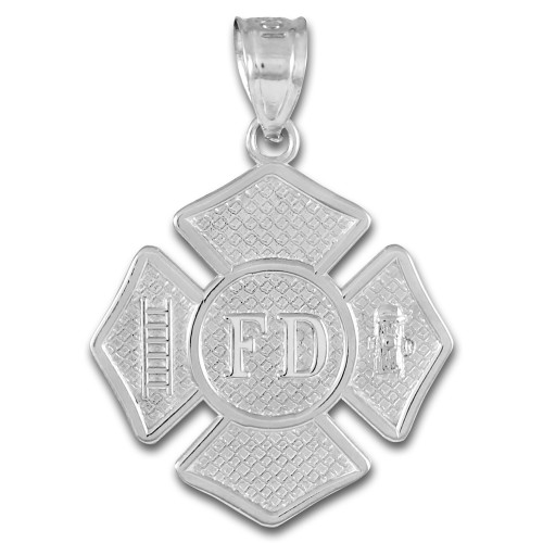 Solid White Gold Fire Department Firefighter Badge Pendant Necklace