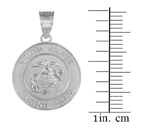 White Gold US Marine Corps Coin Pendant