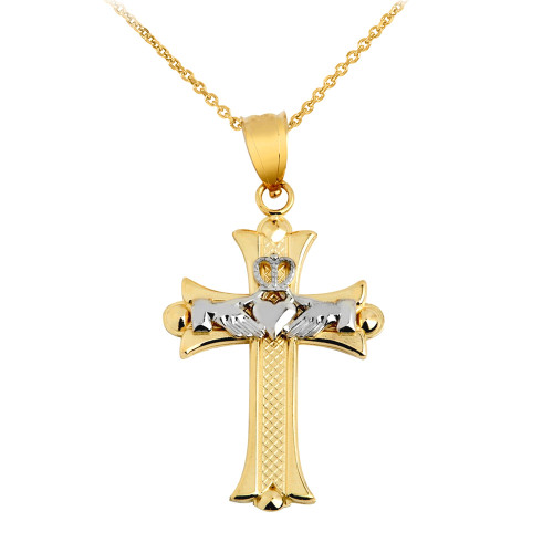 Claddagh Cross White and Yellow Gold Pendant Necklace