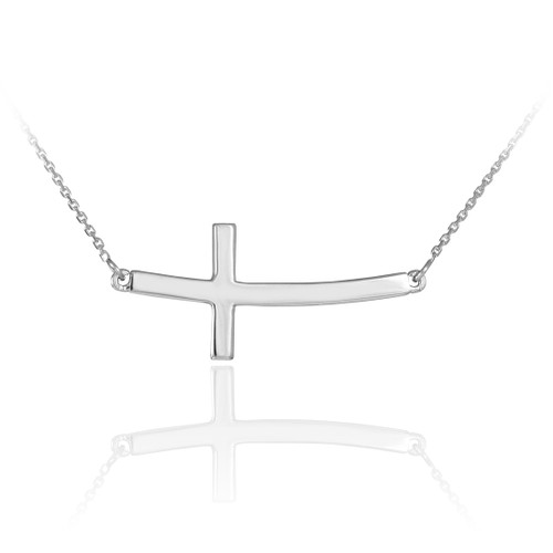 14K Solid White Gold Sideways Curved Cross Necklace