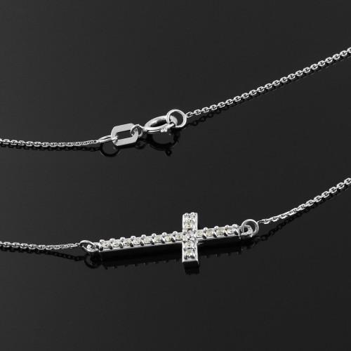 14K White Gold Diamond Sideways Cross Cute Necklace