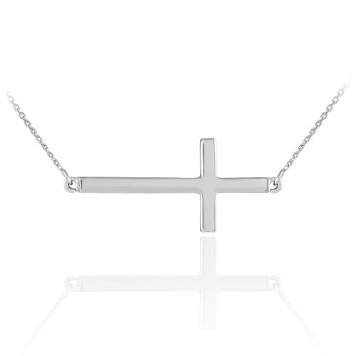 Sterling Silver Sideways Cross Necklace