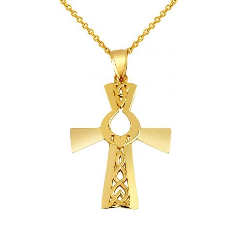 Irish Gold Cross With Claddagh Pendant