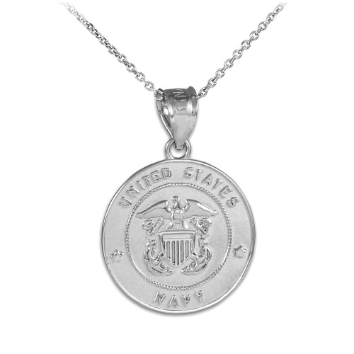 Sterling Silver US Navy Coin Pendant Necklace