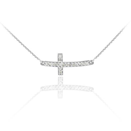 14K White Gold Diamond Sideways Cute Curved Cross Necklace