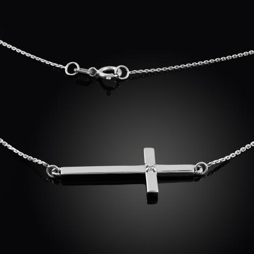 925 Sterling Silver Sideways Diamond Cross Necklace