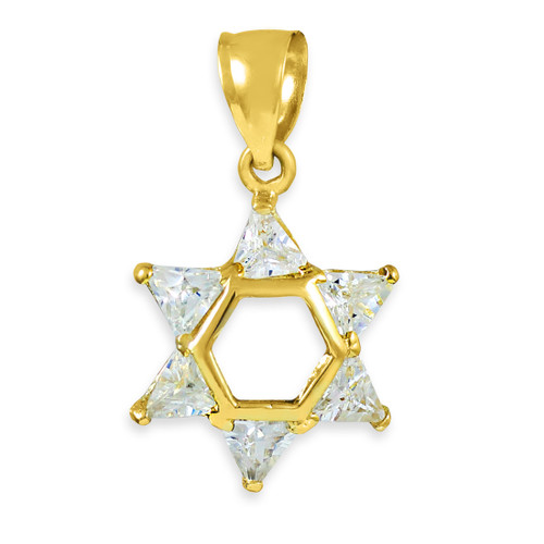 Yellow Gold Star of David Clear CZ Pendant