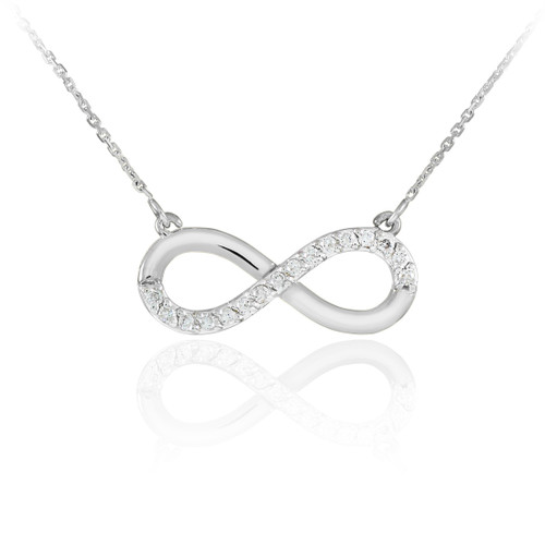 14K White Gold Infinity Polished Pendant Necklace with CZ
