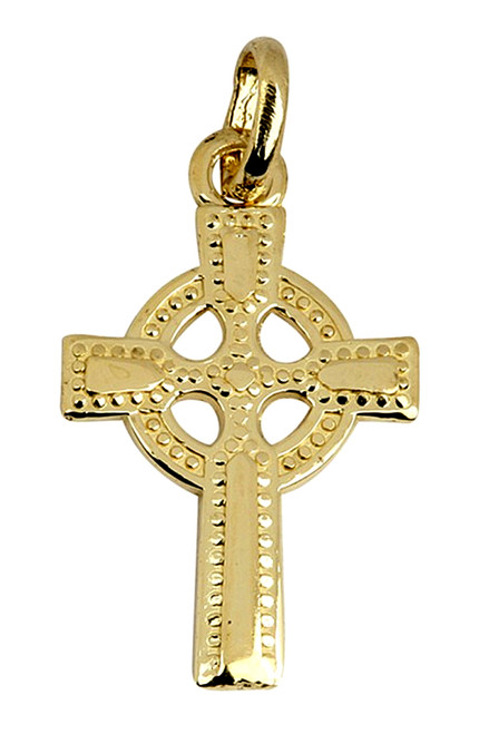 Gold Celtic Irish Cross Pendant