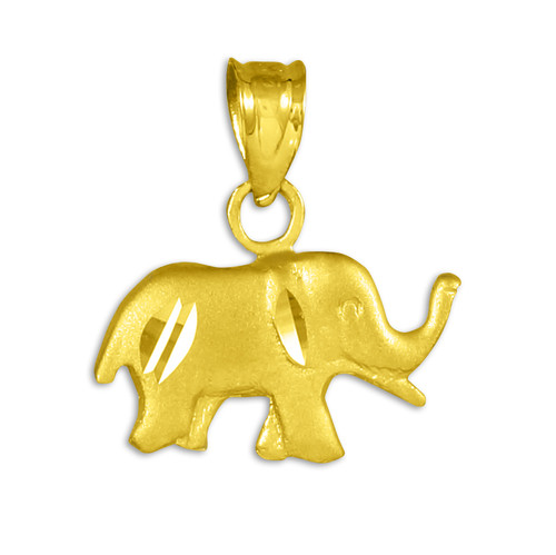 Satin Finish Cute Elephant Gold Charm Pendant Necklace