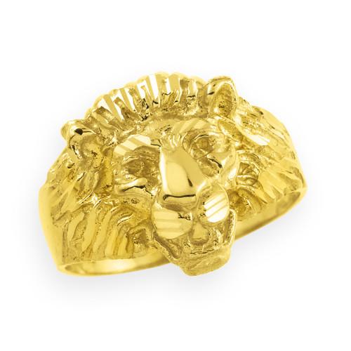 Men's Gold Lion Head Ring
