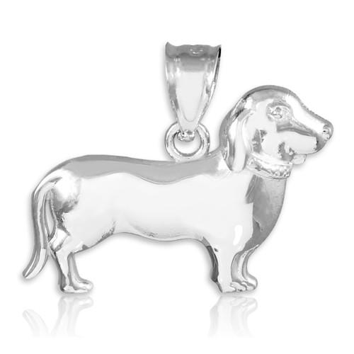 White Gold Weiner Dog Dachshund Puppy Charm Pendant Necklace