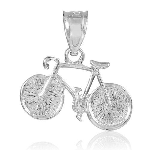 White Gold Bicycle Charm Sports Pendant Necklace