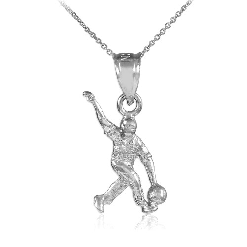 Silver Gold Bowling Man Charm Sports Pendant Necklace