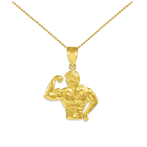 Gold Bodybuilder Charm Sports Pendant Necklace