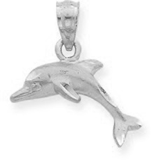 White Gold Dolphin Charm