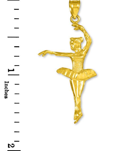 20mm Ladies 14K White Gold Ballerina Figure Ballet Dance Charm Pendant