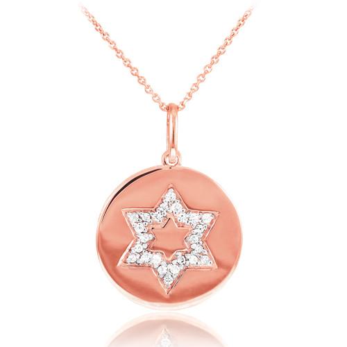 14K Polished Rose Gold Medallion Star of David Diamond Pendant Necklace