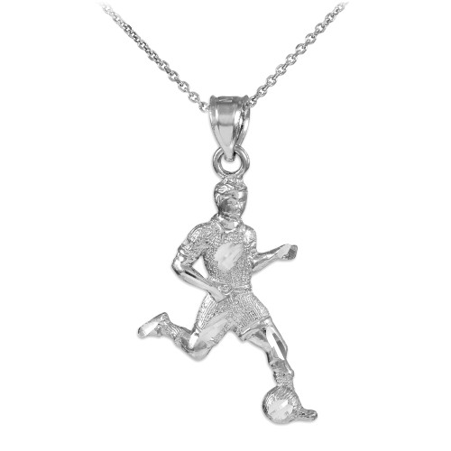 Soccer Player Silver Charm Sports Pendant Necklace